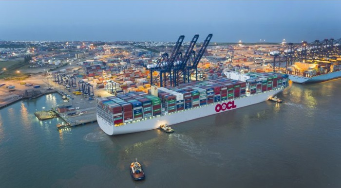 World's largest container ship OOCL Hong Kong makes maiden call at Port of Felixstowe
